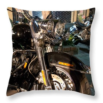 Horizontal Front View Of Fat Cruiser Motorcycle With Chrome Fork Throw Pillow