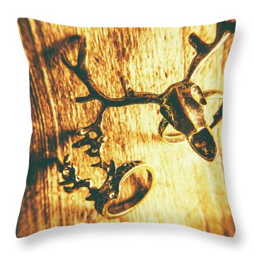 Horned Animal Rings Throw Pillow