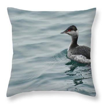 Horned Grebe Throw Pillow