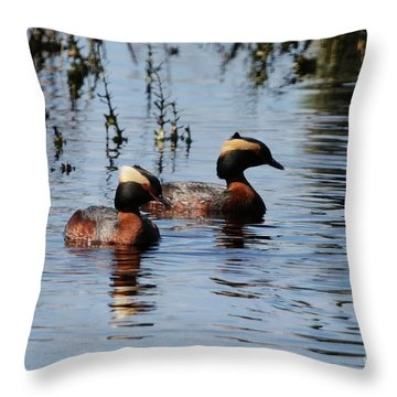 Horned Grebe Couple Throw Pillow