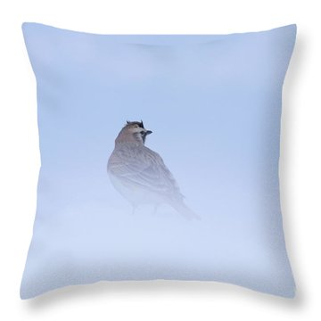 Horned Lark Throw Pillow