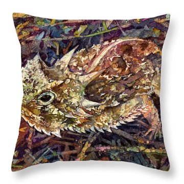Horned Toad Throw Pillow