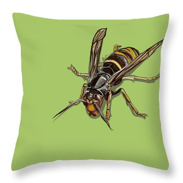Throw Pillow featuring the painting Hornet by Jude Labuszewski