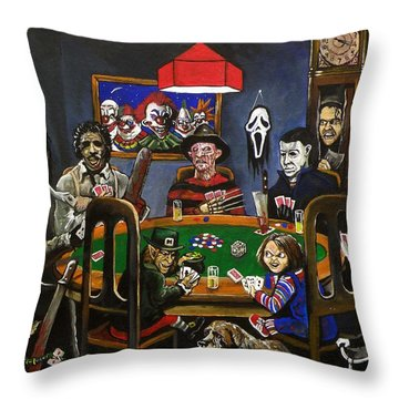 Horror Card Game Throw Pillow