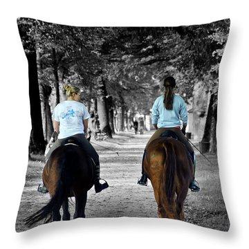 Horsback Rider In Hellbrunn Throw Pillow