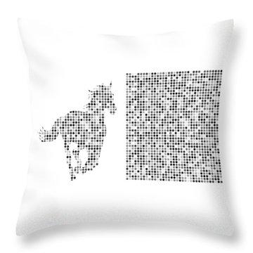 Horse 2 Black And White Throw Pillow