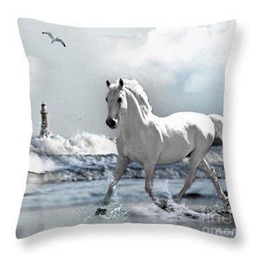 Horse At Roker Pier Throw Pillow