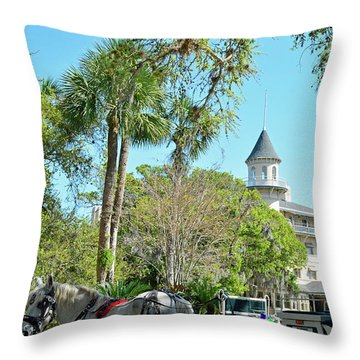 Horse And Carriage At Jekyll Island Club Hotel Throw Pillow by Bruce Gourley