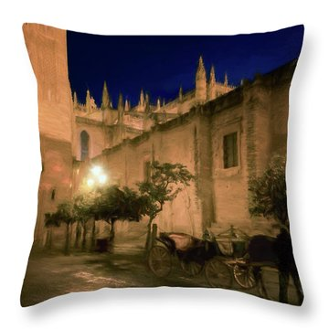 Horse And Carriage Seville Spain Throw Pillow
