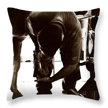 Throw Pillow featuring the photograph Horse And Farrier by Angela Rath