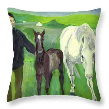 Horse And Foal Throw Pillow