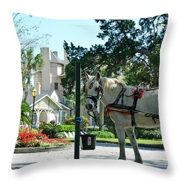 Horse And Jekyll Lsland Club Hotel Throw Pillow by Bruce Gourley