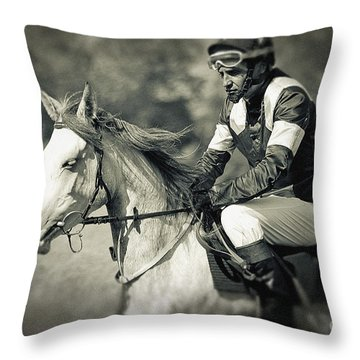 Horse And Jockey Throw Pillow