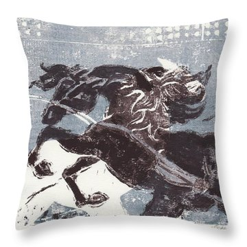 Horse And Red Sun Throw Pillow