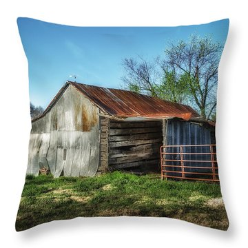 Horse Barn In Color Throw Pillow by James Barber