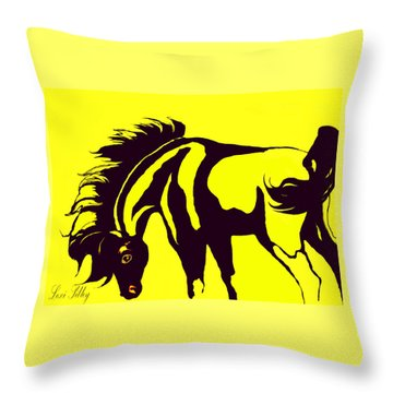 Horse-black And Yellow Throw Pillow