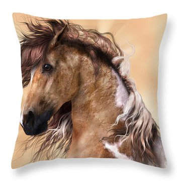 Horse Brown And White Paint Throw Pillow