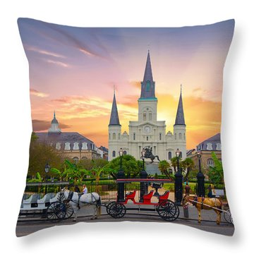 Horse Carriage At Jackson Square Throw Pillow