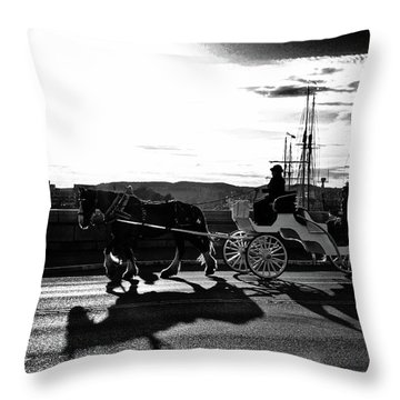 Horse Carriage Sunset Throw Pillow
