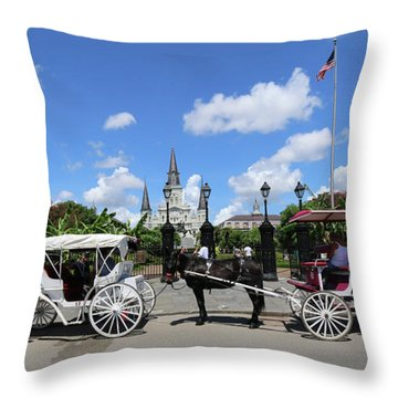 Throw Pillow featuring the photograph Horse Carriages by Steven Spak