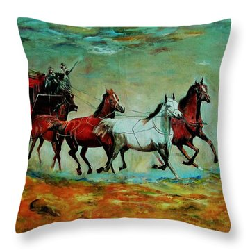 Horse Chariot Throw Pillow by Khalid Saeed