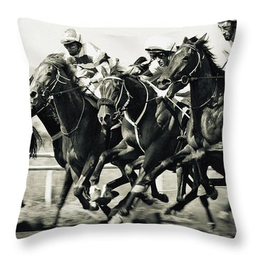 Horse Competition Vi - Horse Race Throw Pillow