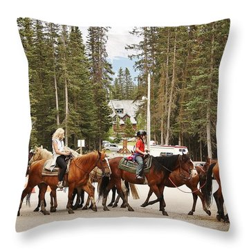 Throw Pillow featuring the photograph Horse Crossing by Al Fritz