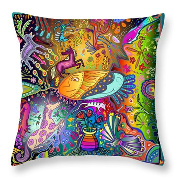 Throw Pillow featuring the digital art Horse Dance by Marti McGinnis