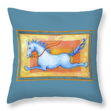 Throw Pillow featuring the painting Horse Detail From H Medieval Alphabet Print by Lora Serra