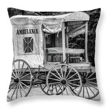 Horse Drawn Ambulance  Throw Pillow by Ken Morris