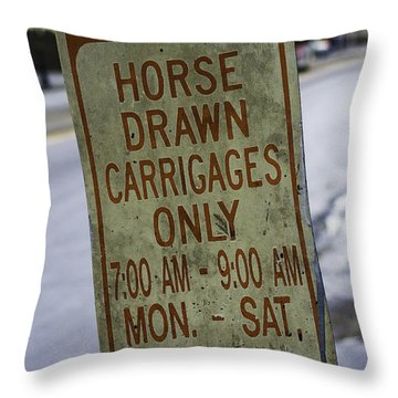 Horse Drawn Carriage Parking Throw Pillow