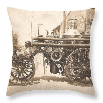 Throw Pillow featuring the photograph Horse Drawn Fire Engine 1910 by Unknown