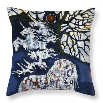 Horse Dreaming Below Trees Throw Pillow