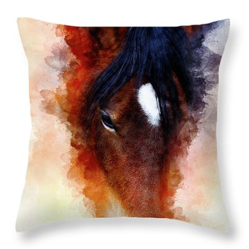 Horse Face And Softly Blurred Watercolor Background. Throw Pillow