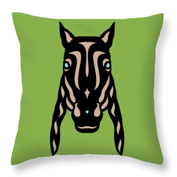 Horse Face Rick - Horse Pop Art - Greenery, Hazelnut, Island Paradise Blue Throw Pillow