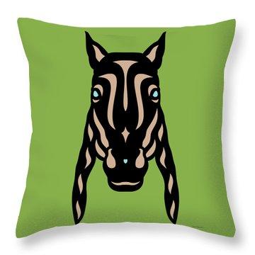 Horse Face Rick - Horse Pop Art - Greenery, Hazelnut, Island Paradise Blue Throw Pillow by Manuel Sueess