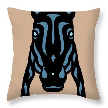Horse Face Rick - Horse Pop Art - Hazelnut, Niagara Blue, Island Paradise Blue Throw Pillow