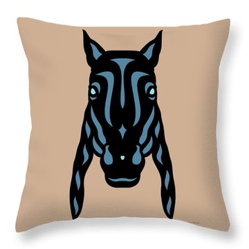 Horse Face Rick - Horse Pop Art - Hazelnut, Niagara Blue, Island Paradise Blue Throw Pillow