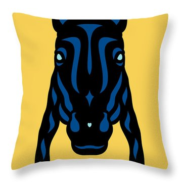 Horse Face Rick - Horse Pop Art - Primrose Yellow, Lapis Blue, Island Paradise Blue Throw Pillow