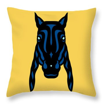 Horse Face Rick - Horse Pop Art - Primrose Yellow, Lapis Blue, Island Paradise Blue Throw Pillow