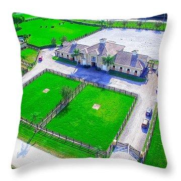 Horse Farm Aerial Throw Pillow