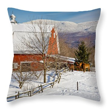 Horse Farm And Mount Mansfield Throw Pillow by Susan Cole Kelly