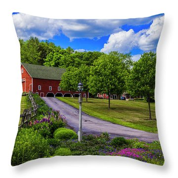 Horse Farm In New Hampshire Throw Pillow