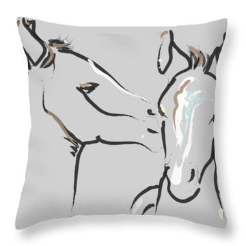 Horse-foals-together 6 Throw Pillow