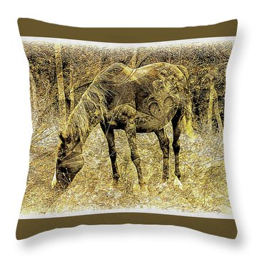 Horse Grazing On Pasture 2 Throw Pillow