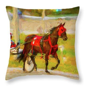 Horse, Harness And Jockey Throw Pillow