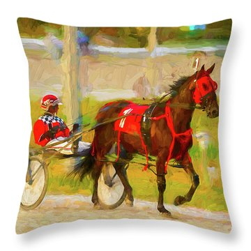 Horse, Harness And Jockey Throw Pillow by Les Palenik