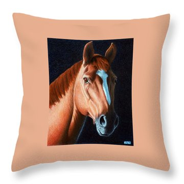 Throw Pillow featuring the painting Horse Head 1 by Joseph Ogle