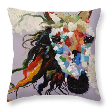Puzzle Horse Head  Throw Pillow