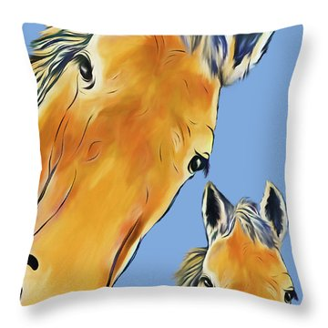 Throw Pillow featuring the digital art Horse Heads by Terry Cork